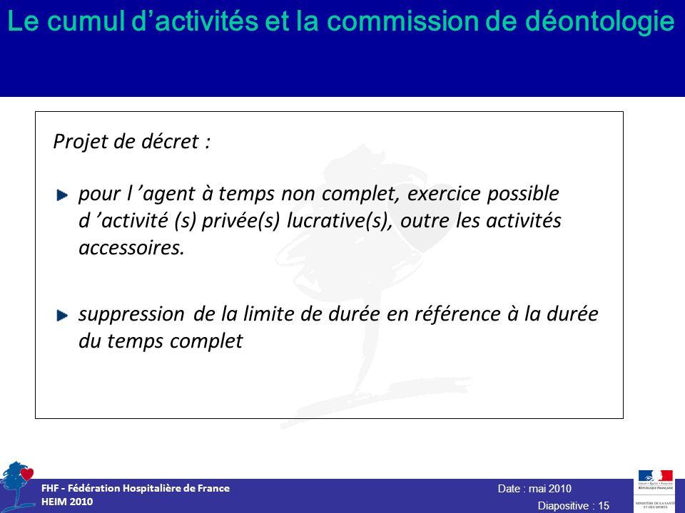Date : mai 2010 FHF - Fédération Hospitalière de France HEIM 2010 Diapositive : 15 Le cumul dactivités et la commission de déontologie Projet de décre