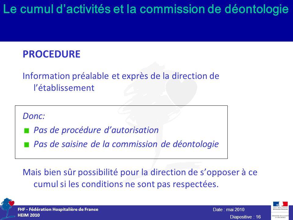 Date : mai 2010 FHF - Fédération Hospitalière de France HEIM 2010 Diapositive : 16 Le cumul dactivités et la commission de déontologie PROCEDURE Infor