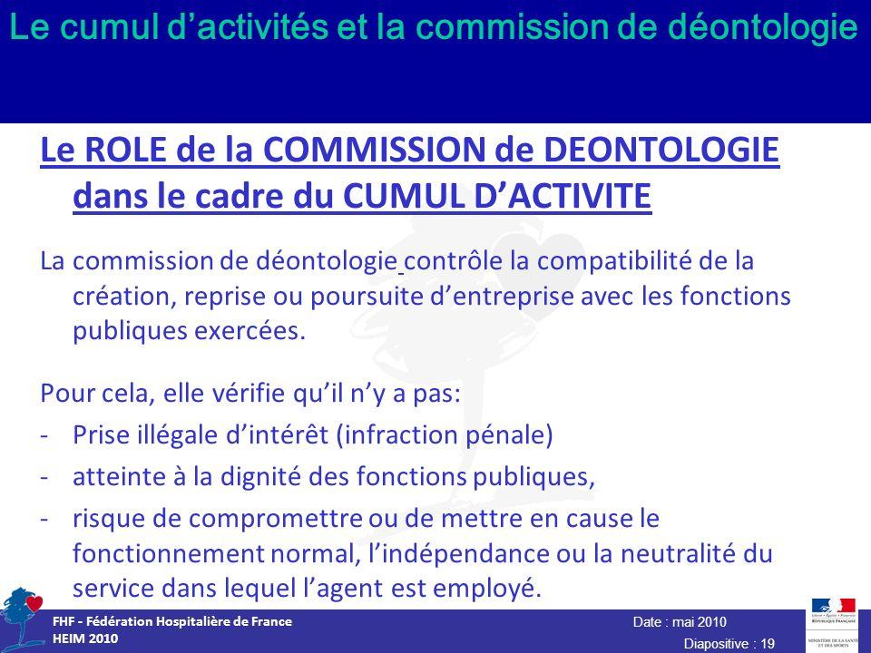 Date : mai 2010 FHF - Fédération Hospitalière de France HEIM 2010 Diapositive : 19 Le cumul dactivités et la commission de déontologie Le ROLE de la C