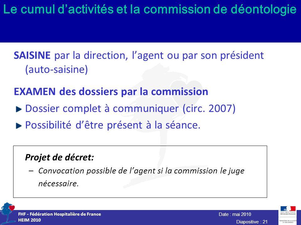 Date : mai 2010 FHF - Fédération Hospitalière de France HEIM 2010 Diapositive : 21 Le cumul dactivités et la commission de déontologie SAISINE par la
