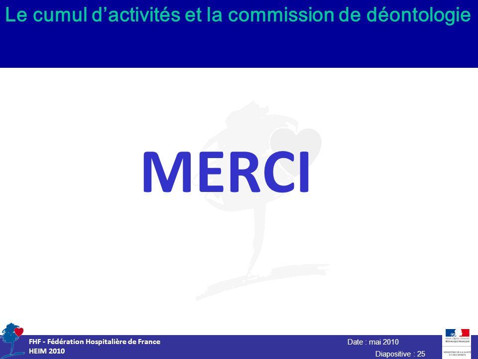 Date : mai 2010 FHF - Fédération Hospitalière de France HEIM 2010 Diapositive : 25 Le cumul dactivités et la commission de déontologie MERCI