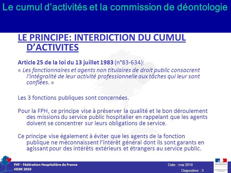 Date : mai 2010 FHF - Fédération Hospitalière de France HEIM 2010 Diapositive : 3 Le cumul dactivités et la commission de déontologie LE PRINCIPE: INT