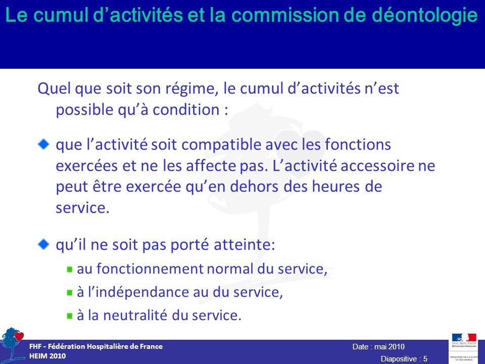 Date : mai 2010 FHF - Fédération Hospitalière de France HEIM 2010 Diapositive : 5 Le cumul dactivités et la commission de déontologie Quel que soit so