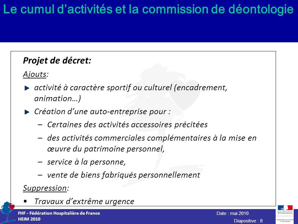 Date : mai 2010 FHF - Fédération Hospitalière de France HEIM 2010 Diapositive : 8 Le cumul dactivités et la commission de déontologie Projet de décret