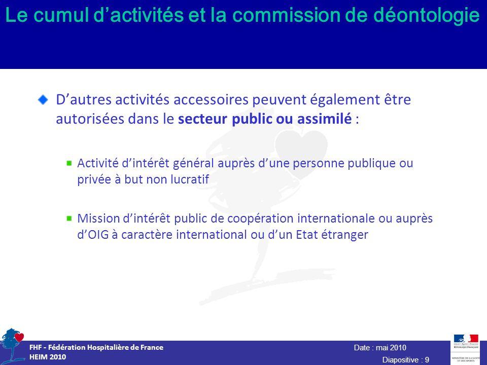 Date : mai 2010 FHF - Fédération Hospitalière de France HEIM 2010 Diapositive : 9 Le cumul dactivités et la commission de déontologie Dautres activité