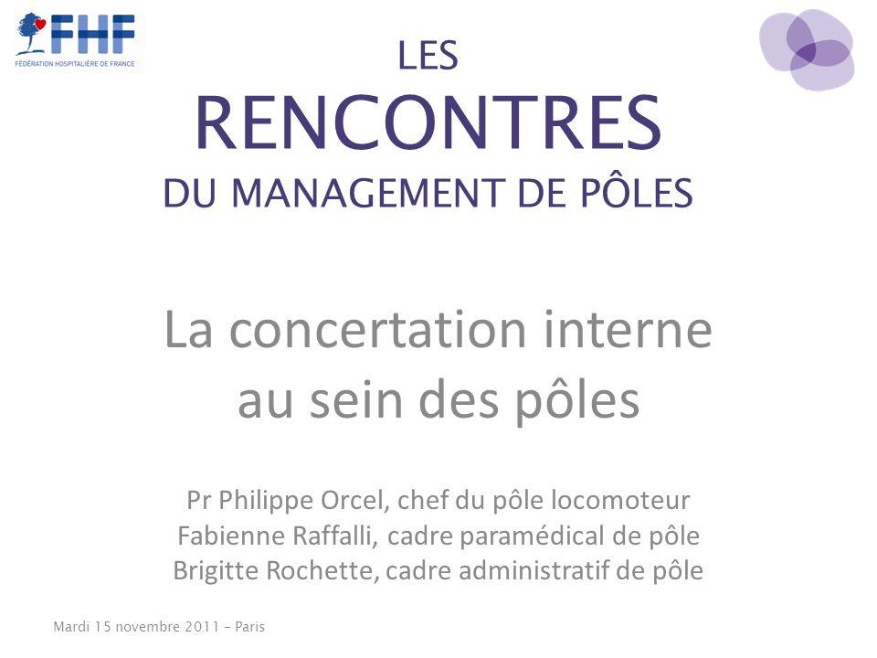 LES RENCONTRES DU MANAGEMENT DE PÔLES La concertation interne au sein des pôles Pr Philippe Orcel, chef du pôle locomoteur Fabienne Raffalli, cadre pa