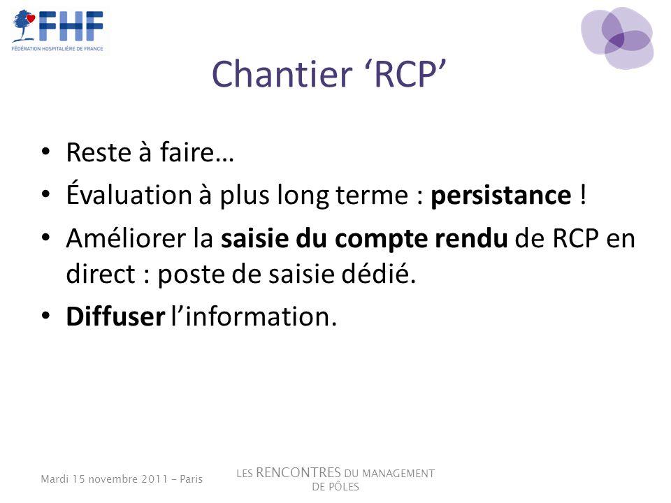 Chantier RCP Reste à faire… Évaluation à plus long terme : persistance ! Améliorer la saisie du compte rendu de RCP en direct : poste de saisie dédié.