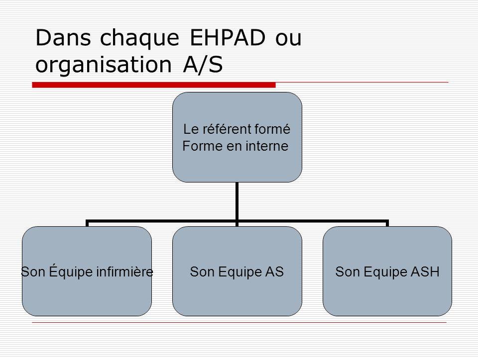 Dans chaque EHPAD ou organisation A/S Le référent formé Forme en interne Son Équipe infirmière Son Equipe ASSon Equipe ASH