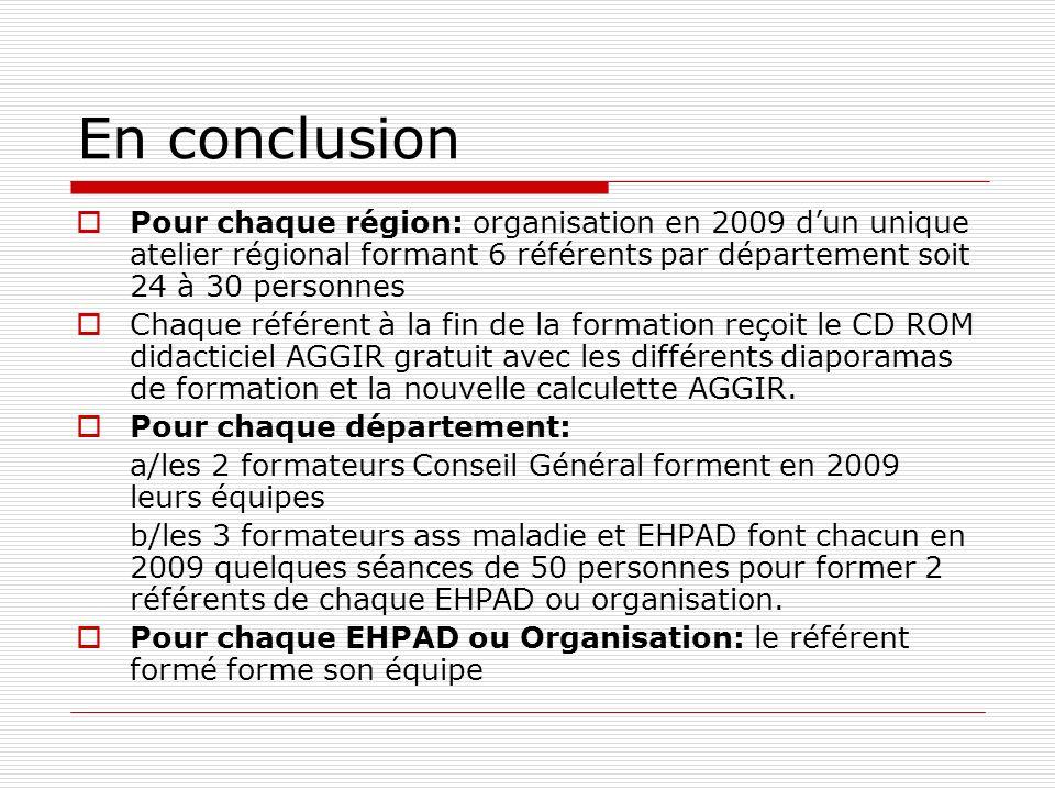 En conclusion Pour chaque région: organisation en 2009 dun unique atelier régional formant 6 référents par département soit 24 à 30 personnes Chaque référent à la fin de la formation reçoit le CD ROM didacticiel AGGIR gratuit avec les différents diaporamas de formation et la nouvelle calculette AGGIR.