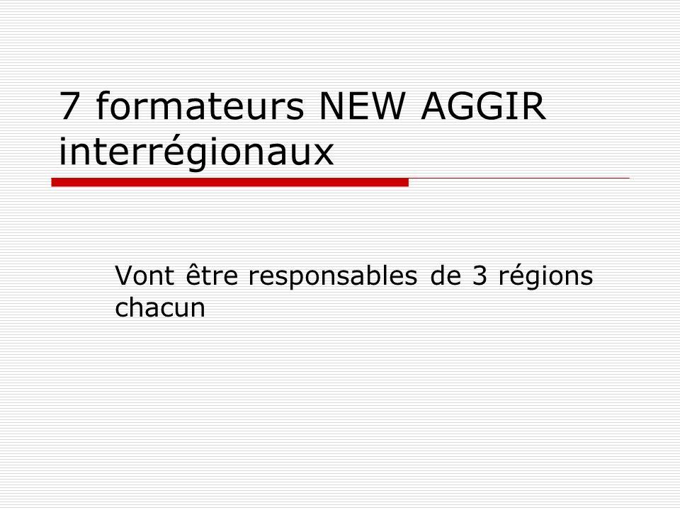 7 formateurs NEW AGGIR interrégionaux Vont être responsables de 3 régions chacun