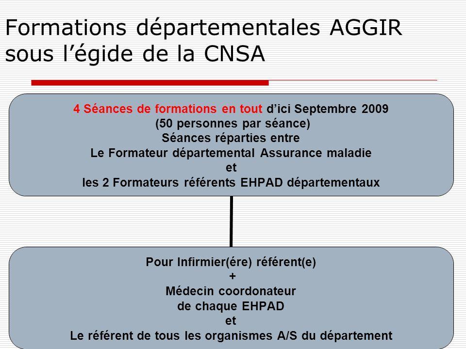 Formations départementales AGGIR sous légide de la CNSA 4 Séances de formations en tout dici Septembre 2009 (50 personnes par séance) Séances réparties entre Le Formateur départemental Assurance maladie et les 2 Formateurs référents EHPAD départementaux Pour Infirmier(ére) référent(e) + Médecin coordonateur de chaque EHPAD et Le référent de tous les organismes A/S du département