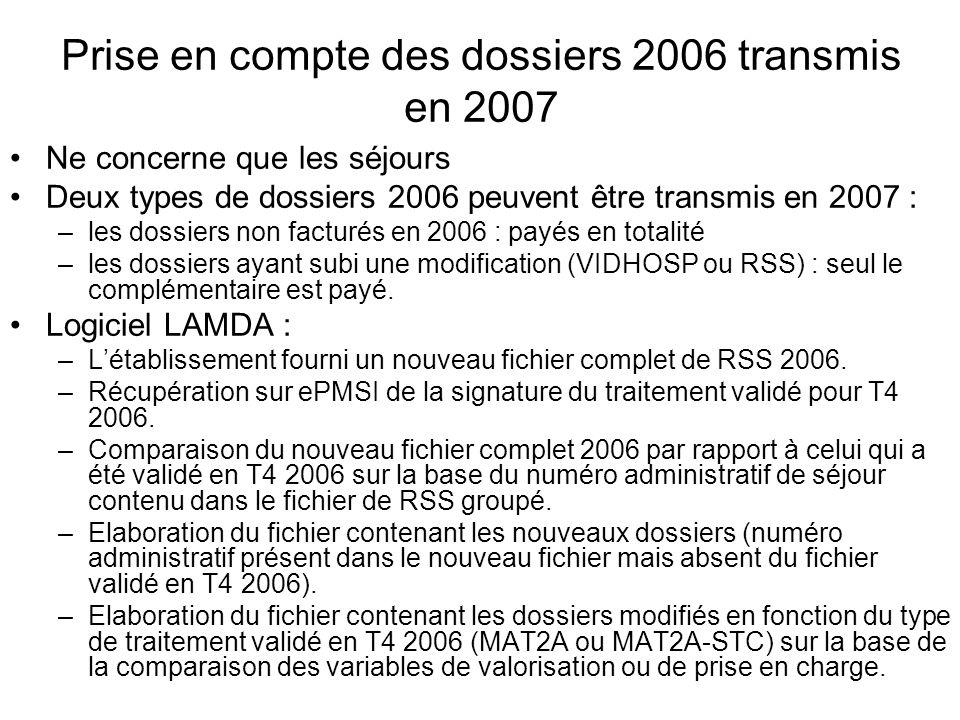 Prise en compte des dossiers 2006 transmis en 2007 Ne concerne que les séjours Deux types de dossiers 2006 peuvent être transmis en 2007 : –les dossie