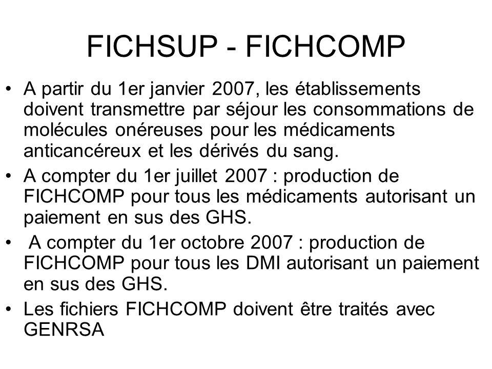 FICHSUP - FICHCOMP A partir du 1er janvier 2007, les établissements doivent transmettre par séjour les consommations de molécules onéreuses pour les m