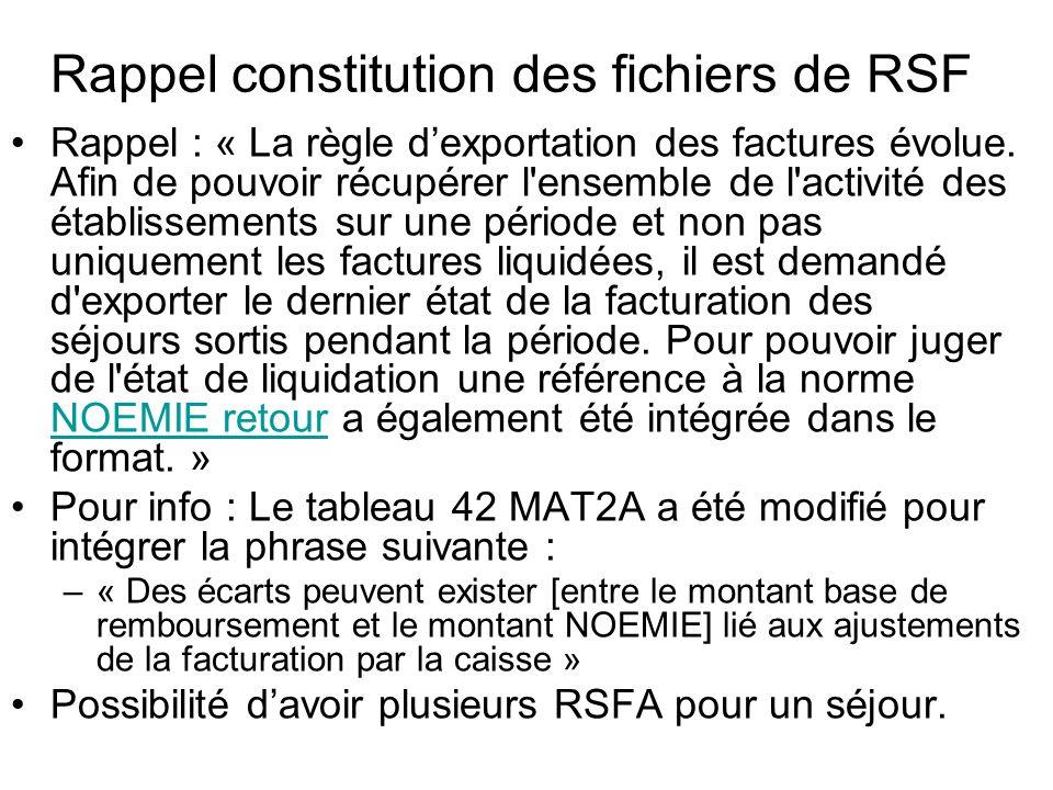 Rappel constitution des fichiers de RSF Rappel : « La règle dexportation des factures évolue. Afin de pouvoir récupérer l'ensemble de l'activité des é