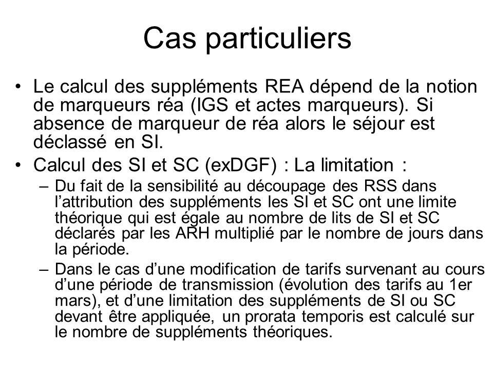 Cas particuliers Le calcul des suppléments REA dépend de la notion de marqueurs réa (IGS et actes marqueurs). Si absence de marqueur de réa alors le s