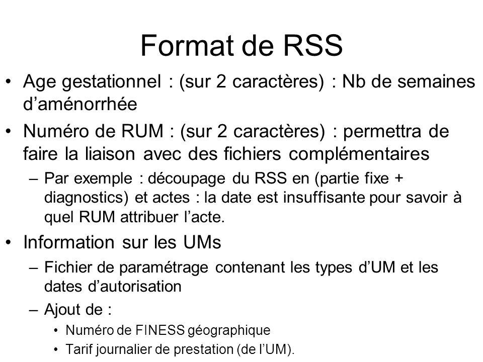 Format de RSS Age gestationnel : (sur 2 caractères) : Nb de semaines daménorrhée Numéro de RUM : (sur 2 caractères) : permettra de faire la liaison av