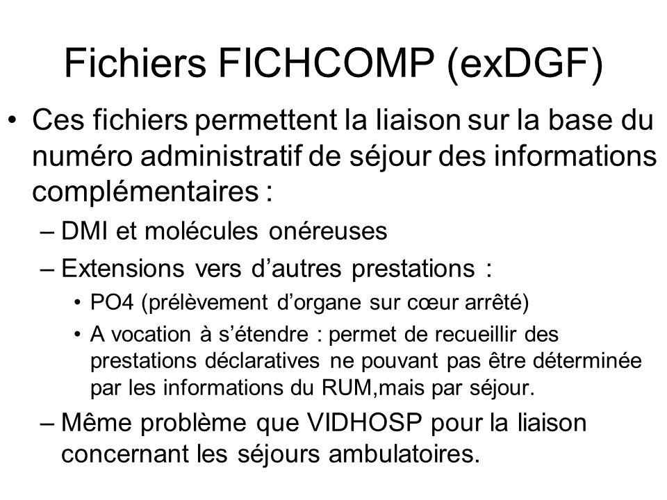 Fichiers FICHCOMP (exDGF) Ces fichiers permettent la liaison sur la base du numéro administratif de séjour des informations complémentaires : –DMI et