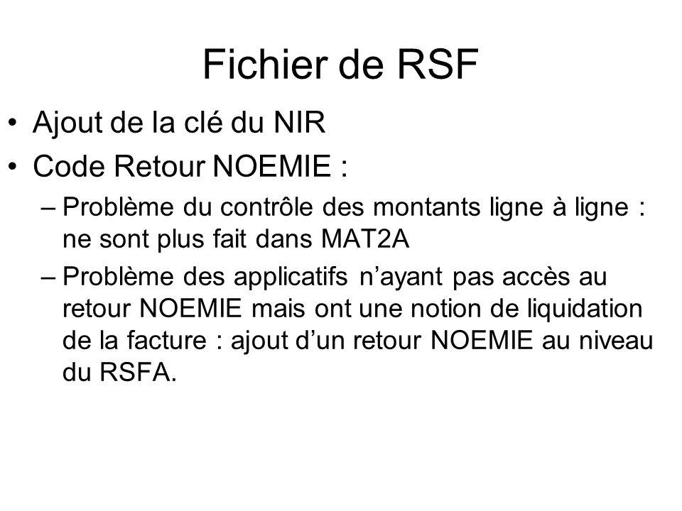 Fichier de RSF Ajout de la clé du NIR Code Retour NOEMIE : –Problème du contrôle des montants ligne à ligne : ne sont plus fait dans MAT2A –Problème d