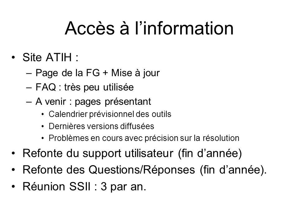 Accès à linformation Site ATIH : –Page de la FG + Mise à jour –FAQ : très peu utilisée –A venir : pages présentant Calendrier prévisionnel des outils