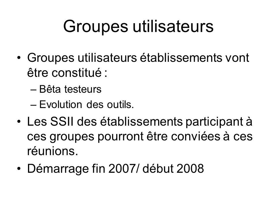 Groupes utilisateurs Groupes utilisateurs établissements vont être constitué : –Bêta testeurs –Evolution des outils. Les SSII des établissements parti
