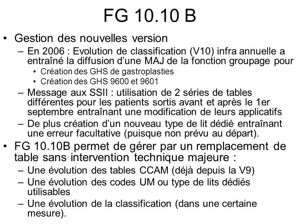 FG 10.10 B Gestion des nouvelles version –En 2006 : Evolution de classification (V10) infra annuelle a entraîné la diffusion dune MAJ de la fonction g
