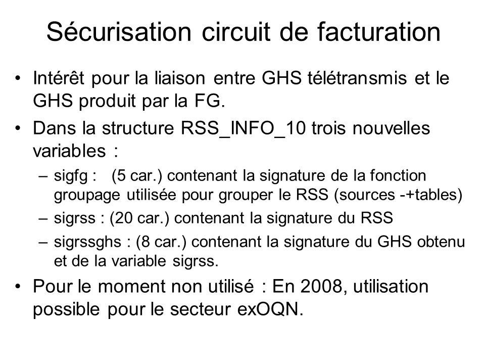 Sécurisation circuit de facturation Intérêt pour la liaison entre GHS télétransmis et le GHS produit par la FG. Dans la structure RSS_INFO_10 trois no
