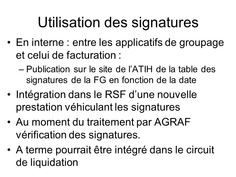 Utilisation des signatures En interne : entre les applicatifs de groupage et celui de facturation : –Publication sur le site de lATIH de la table des