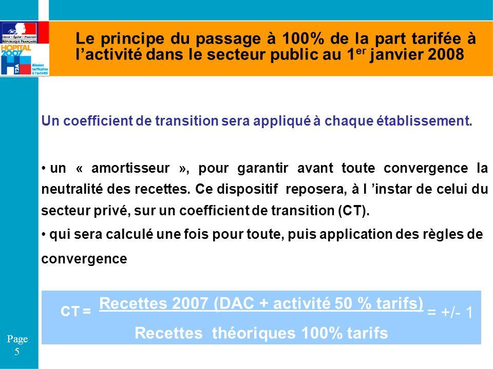 Page 5 Le principe du passage à 100% de la part tarifée à lactivité dans le secteur public au 1 er janvier 2008 Un coefficient de transition sera appl