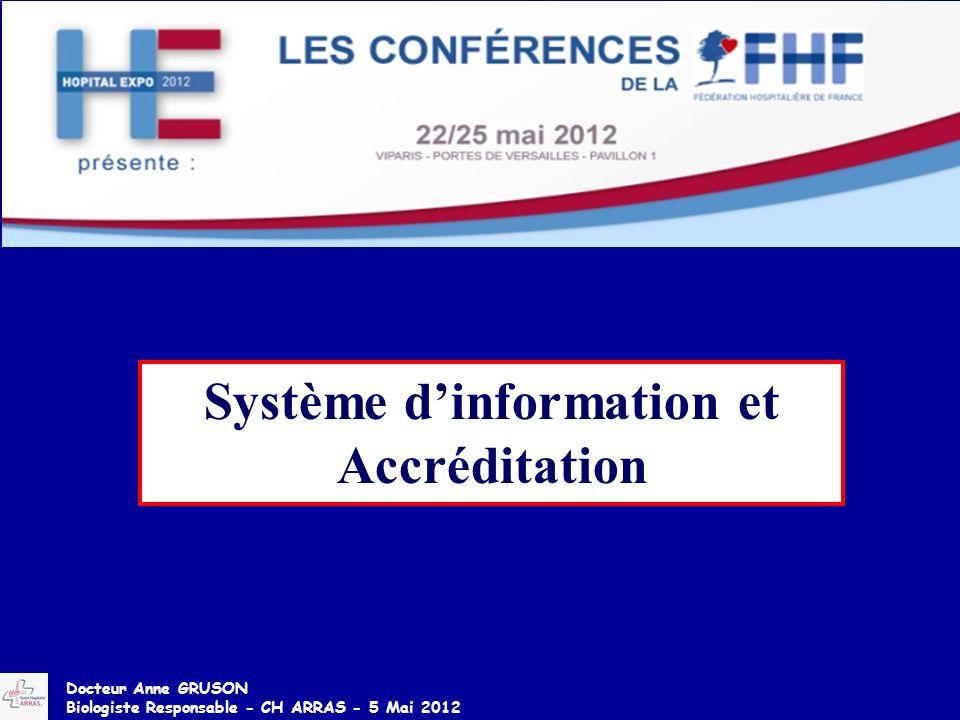 Système dinformation et Accréditation Docteur Anne GRUSON Biologiste Responsable - CH ARRAS - 5 Mai 2012