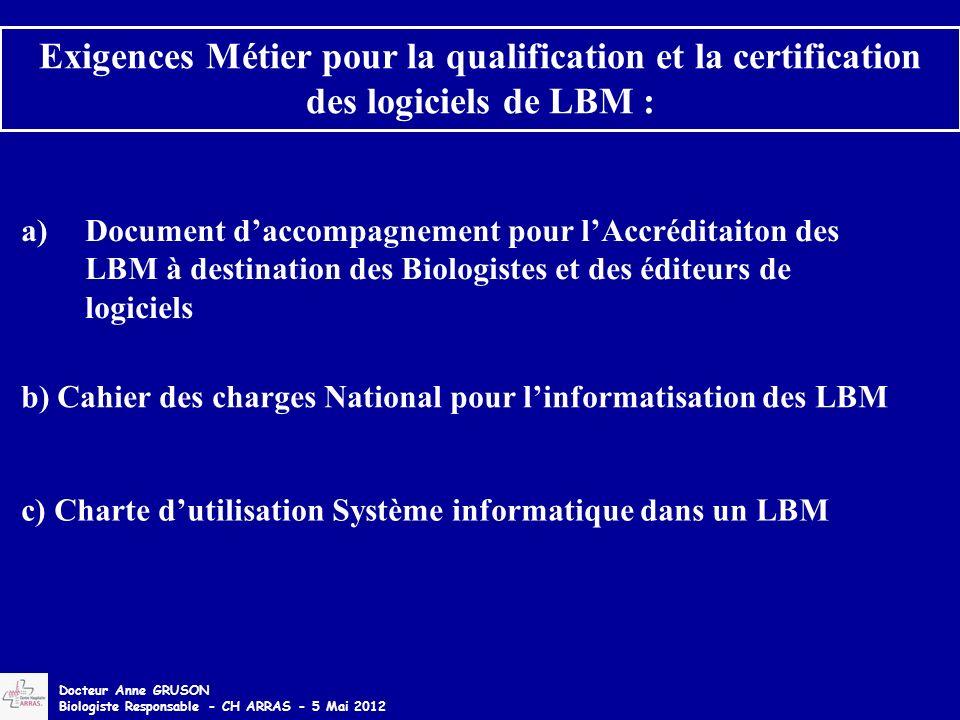 a)Document daccompagnement pour lAccréditaiton des LBM à destination des Biologistes et des éditeurs de logiciels Exigences Métier pour la qualificati