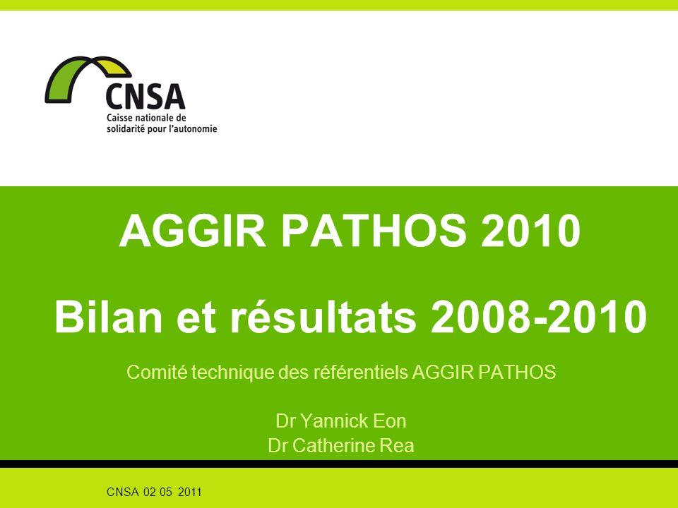 CNSA 02 05 2011 AGGIR PATHOS 2010 Bilan et résultats 2008-2010 Comité technique des référentiels AGGIR PATHOS Dr Yannick Eon Dr Catherine Rea