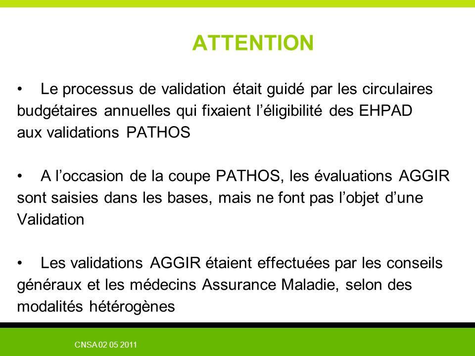 CNSA 02 05 2011 ATTENTION Le processus de validation était guidé par les circulaires budgétaires annuelles qui fixaient léligibilité des EHPAD aux val