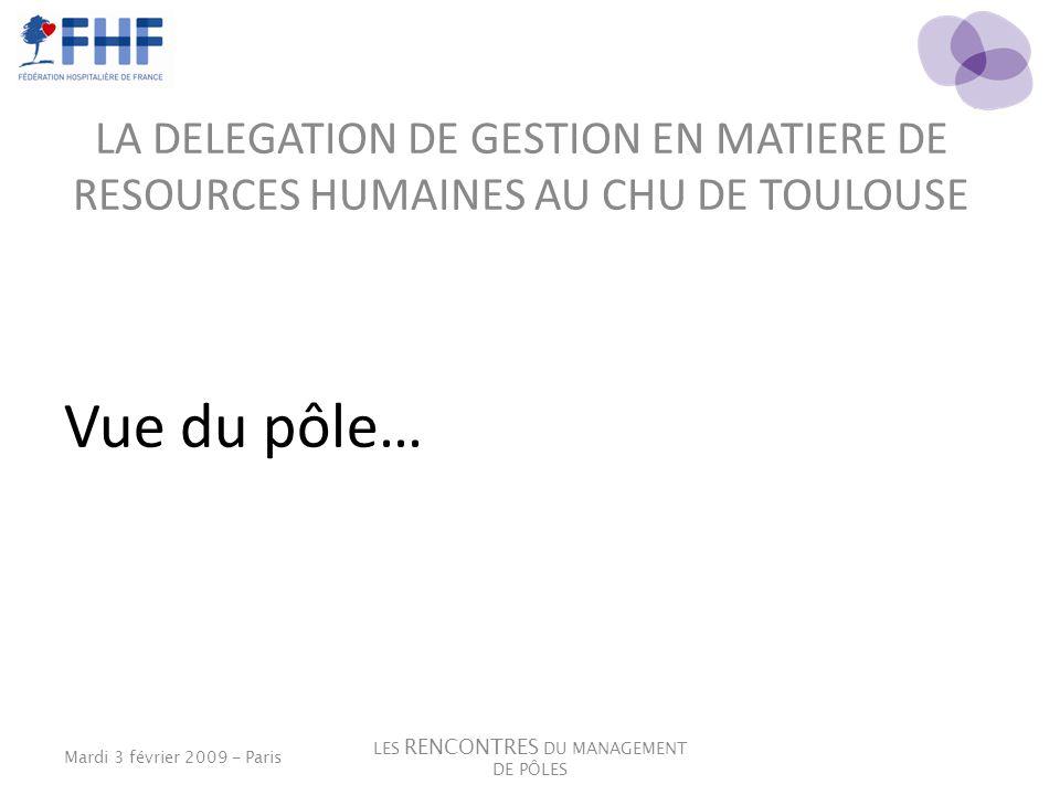 LA DELEGATION DE GESTION EN MATIERE DE RESOURCES HUMAINES AU CHU DE TOULOUSE Vue du pôle… Mardi 3 février 2009 - Paris LES RENCONTRES DU MANAGEMENT DE