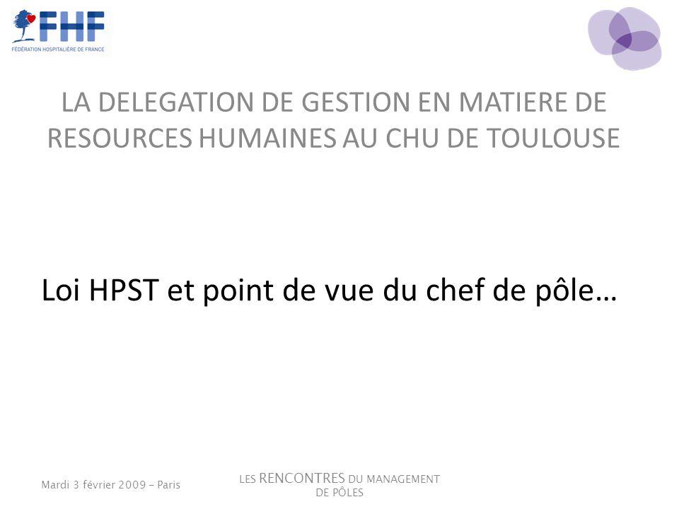 LA DELEGATION DE GESTION EN MATIERE DE RESOURCES HUMAINES AU CHU DE TOULOUSE Loi HPST et point de vue du chef de pôle… Mardi 3 février 2009 - Paris LE