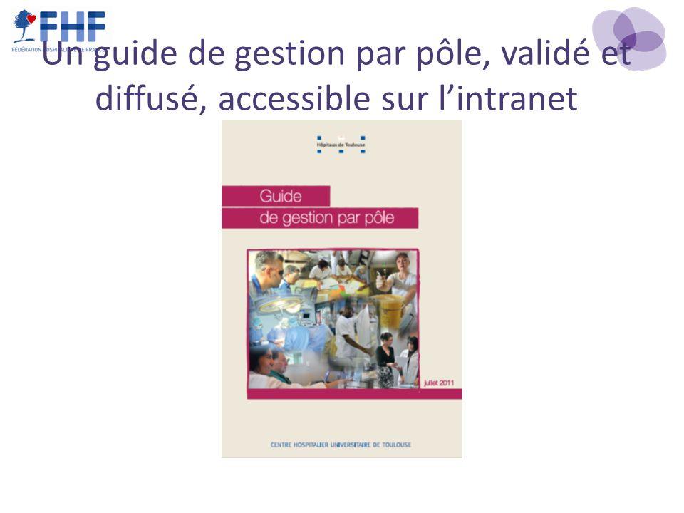 Un guide de gestion par pôle, validé et diffusé, accessible sur lintranet