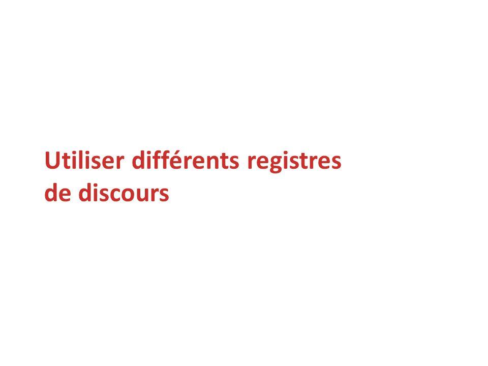 Utiliser différents registres de discours