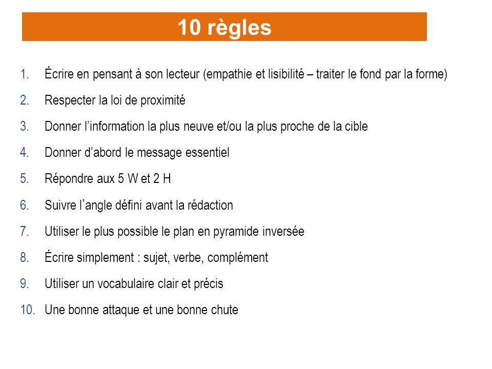22 10 règles 1.Écrire en pensant à son lecteur (empathie et lisibilité – traiter le fond par la forme) 2.Respecter la loi de proximité 3.Donner linfor