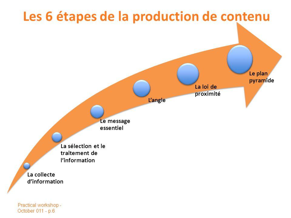 Les 6 étapes de la production de contenu Practical workshop - October 011 - p.6 La collecte dinformation La sélection et le traitement de linformation