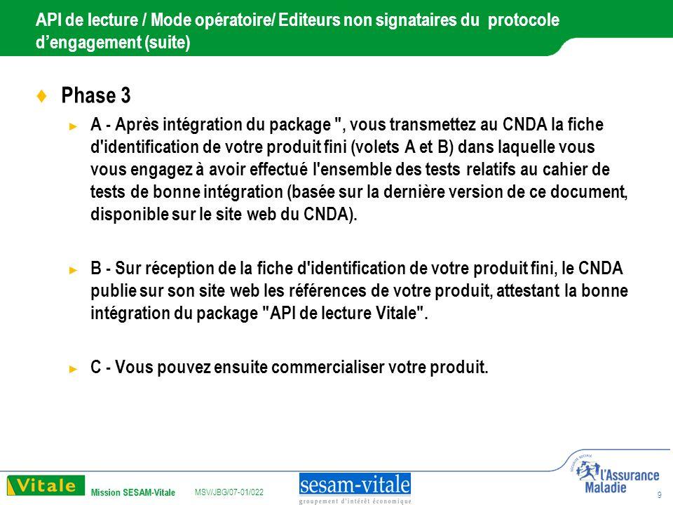 MSV/JBG/07-01/022 10 API de lecture / Support Le GIE SESAM-VITALE assure l assistance technique du package API de lecture Vitale : support-lect@sesam-vitale.frsupport-lect@sesam-vitale.fr