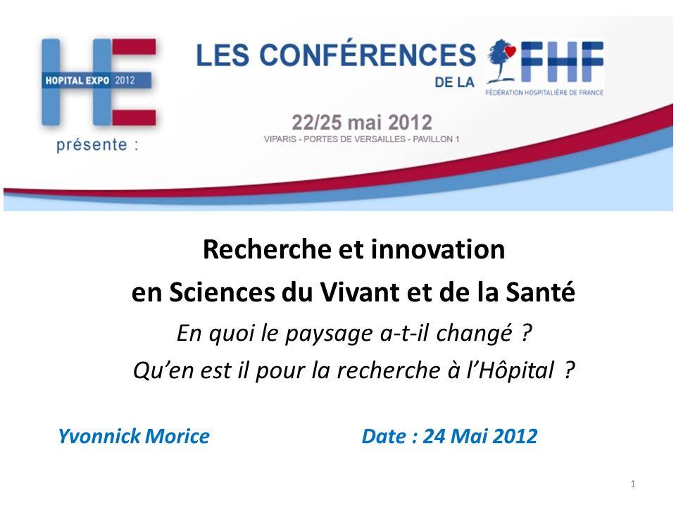 Yvonnick Morice Date : 24 Mai 2012 1 Recherche et innovation en Sciences du Vivant et de la Santé En quoi le paysage a-t-il changé ? Quen est il pour