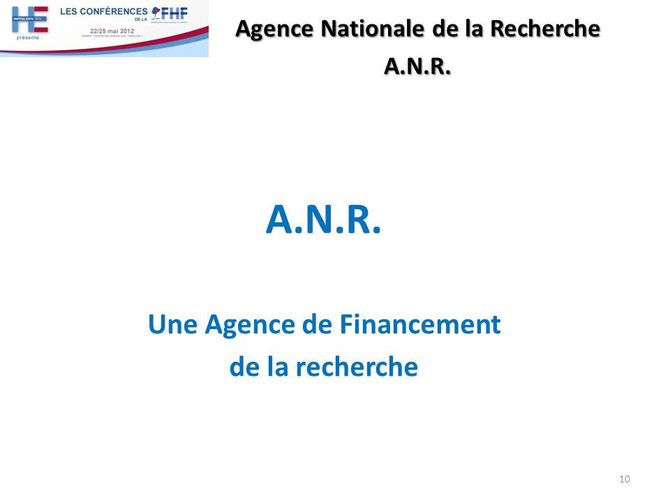 A.N.R. Une Agence de Financement de la recherche 10 Agence Nationale de la Recherche A.N.R.