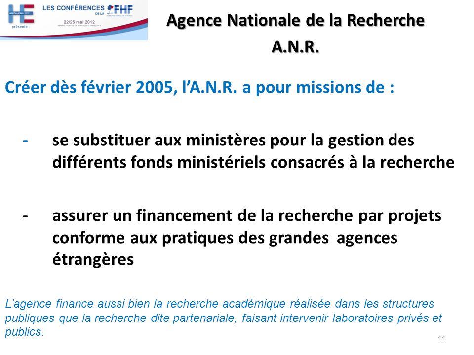 A.N.R. Créer dès février 2005, lA.N.R. a pour missions de : - se substituer aux ministères pour la gestion des différents fonds ministériels consacrés