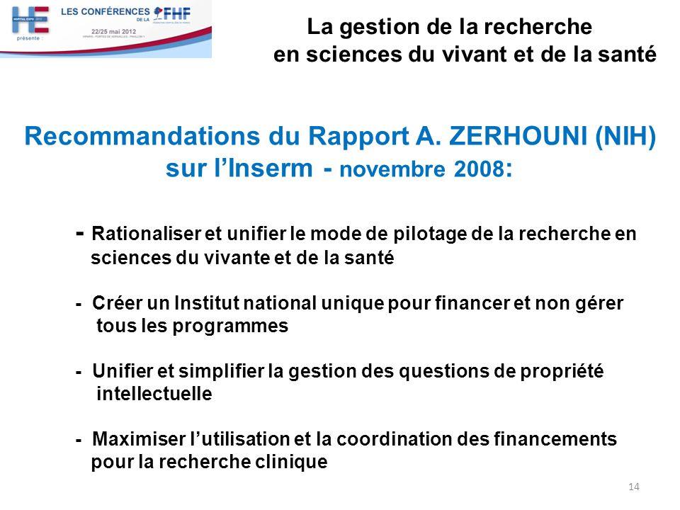 La gestion de la recherche en sciences du vivant et de la santé Recommandations du Rapport A. ZERHOUNI (NIH) sur lInserm - novembre 2008 : - Rationali
