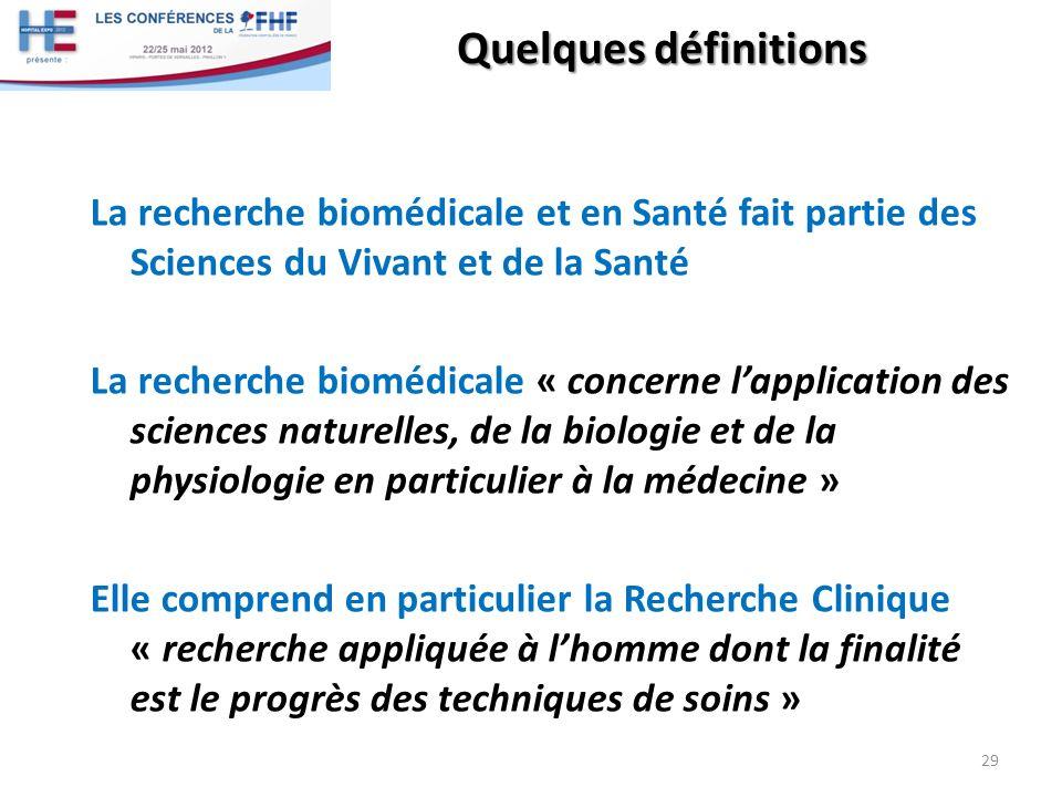 Quelques définitions La recherche biomédicale et en Santé fait partie des Sciences du Vivant et de la Santé La recherche biomédicale « concerne lappli