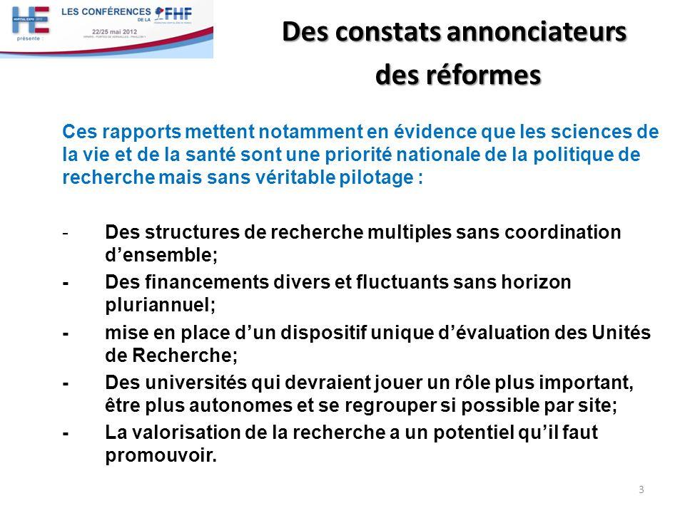 Des réformes en direction essentiellement des Universités Après la Création de lANR en 2005, les réformes se succèdent.