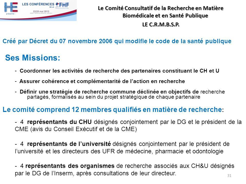 Le Comité Consultatif de la Recherche en Matière Biomédicale et en Santé Publique LE C.R.M.B.S.P. Créé par Décret du 07 novembre 2006 qui modifie le c