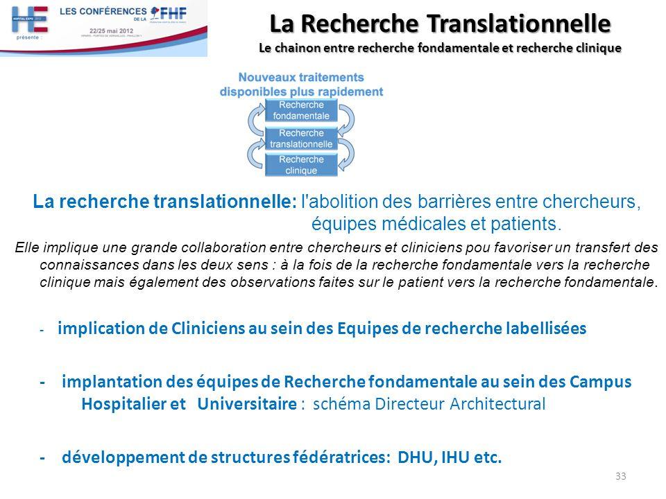 La Recherche Translationnelle Le chainon entre recherche fondamentale et recherche clinique La recherche translationnelle: l'abolition des barrières e