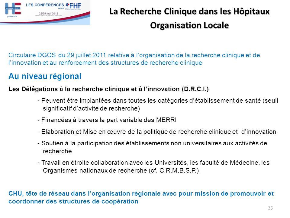 La Recherche Clinique dans les Hôpitaux Organisation Locale Circulaire DGOS du 29 juillet 2011 relative à lorganisation de la recherche clinique et de