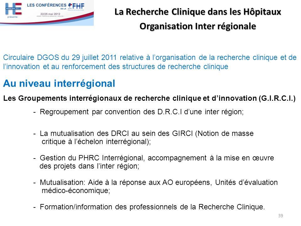 La Recherche Clinique dans les Hôpitaux Organisation Inter régionale Circulaire DGOS du 29 juillet 2011 relative à lorganisation de la recherche clini