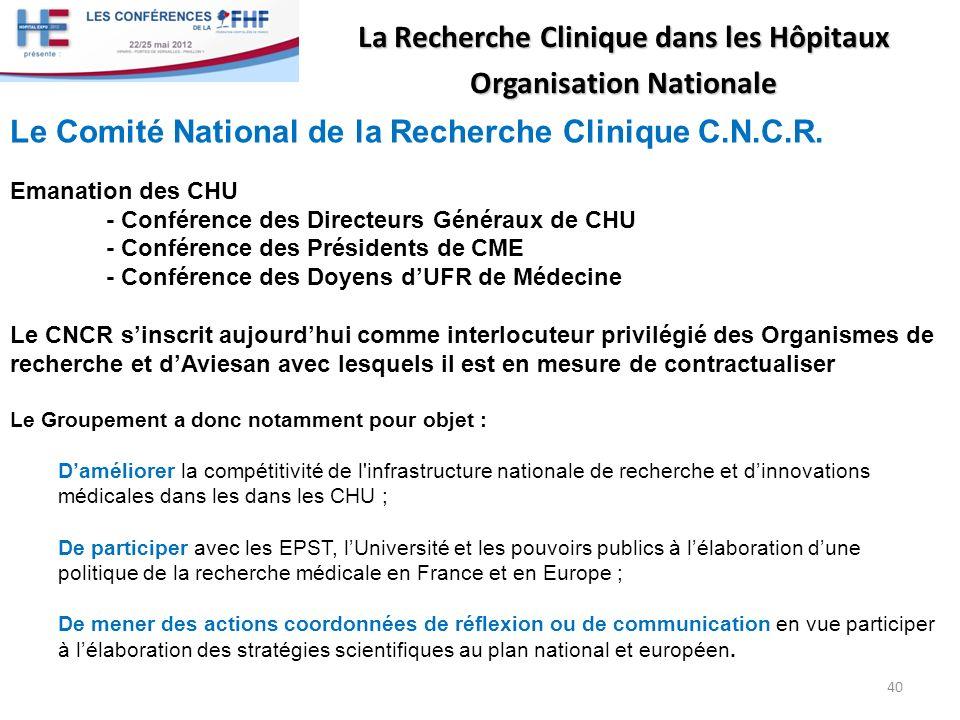 La Recherche Clinique dans les Hôpitaux Organisation Nationale Le Comité National de la Recherche Clinique C.N.C.R. Emanation des CHU - Conférence des